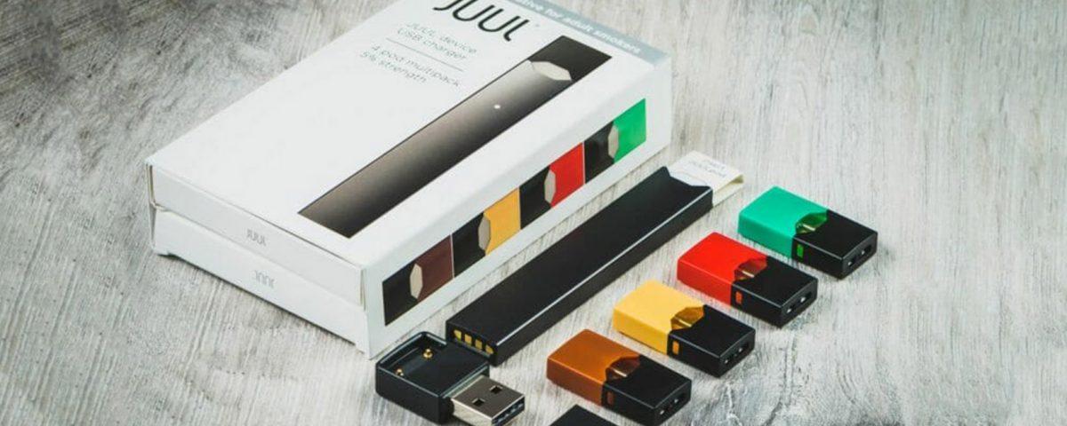 Juul packaging, e-cigarette, and vape-pods.