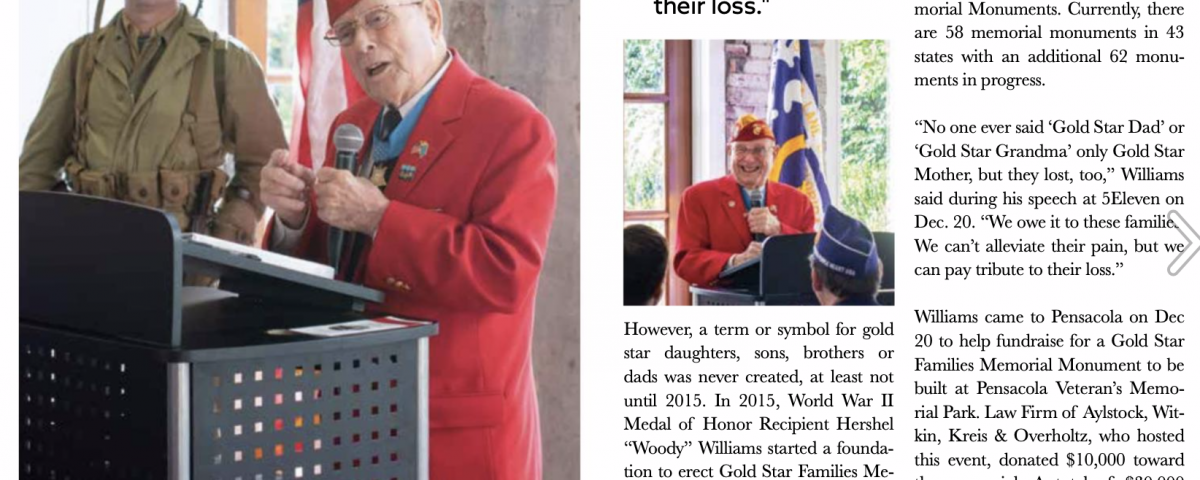 Woody Williams Event Ballinger Publishing; a news article with images of Woody Williams, veteran, talking at a microphone.