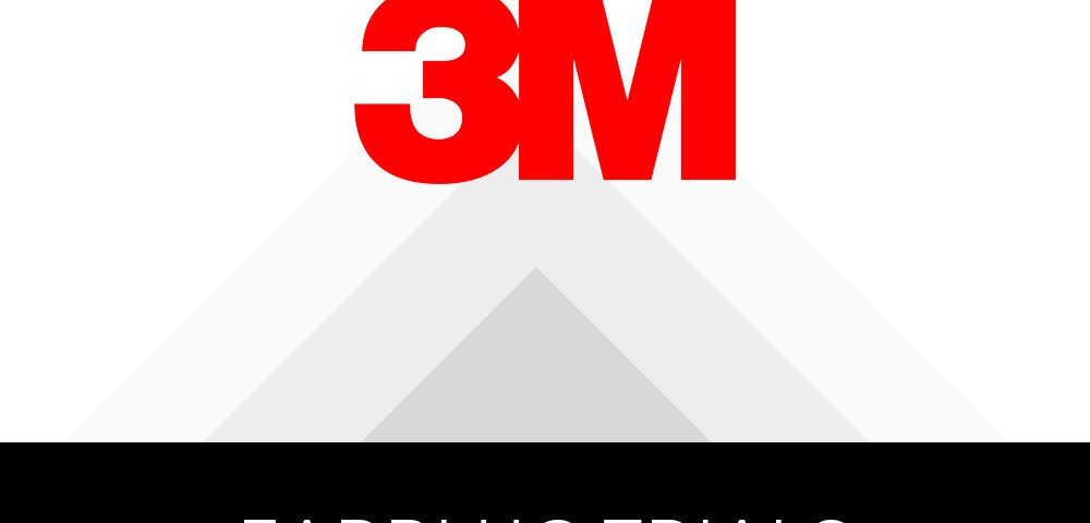 """3M logo with gray opaque triangular shapes receding in the background, text in a black box below reads """"Earplug Trials"""""""